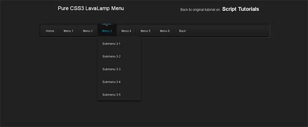 Pure CSS3 LavaLamp Menu