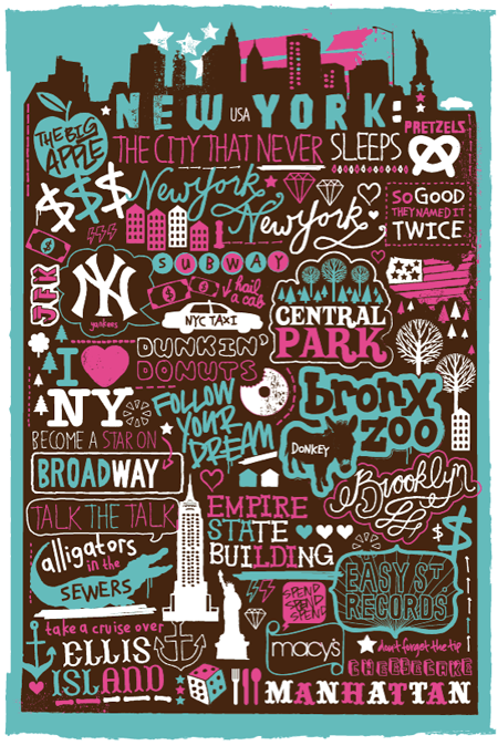 New York New York hand drawn
