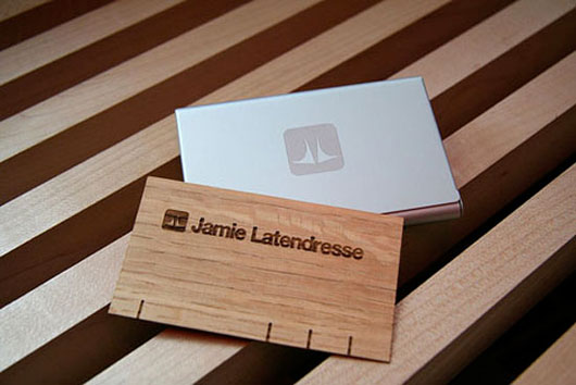 Aluminum Case And Wood Veneer Business Card