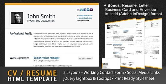 clean cv resume html template - Cv Resume Web Template