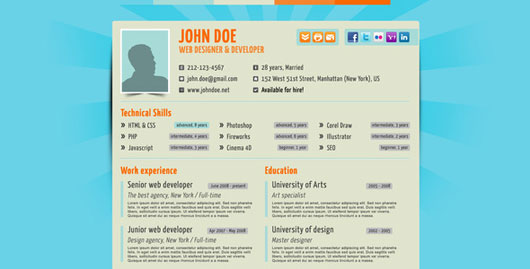 35 Best Online CV Resume Templates | Web & Graphic Design | Bashooka