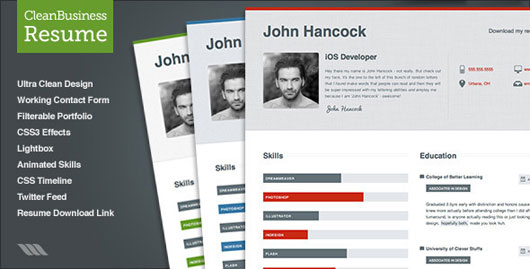 35 Best Online CV Resume Templates Web Graphic Design – Web Resume Template