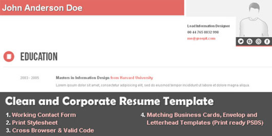 clean and corporate cv resume html template - Corporate Resume Template