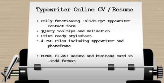 Typewriter CV / Resume