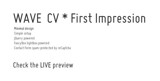 WAVE CV * First Impression