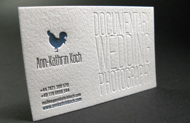 letterpress business card for wedding photographer