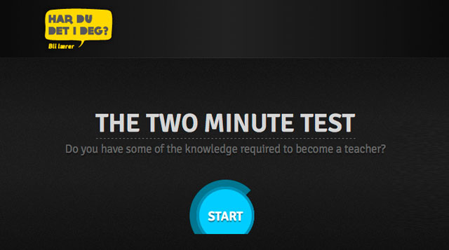 Two minute teacher test
