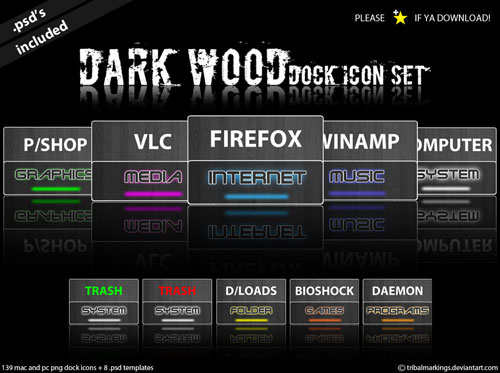 Dark Wood - Dock icon set