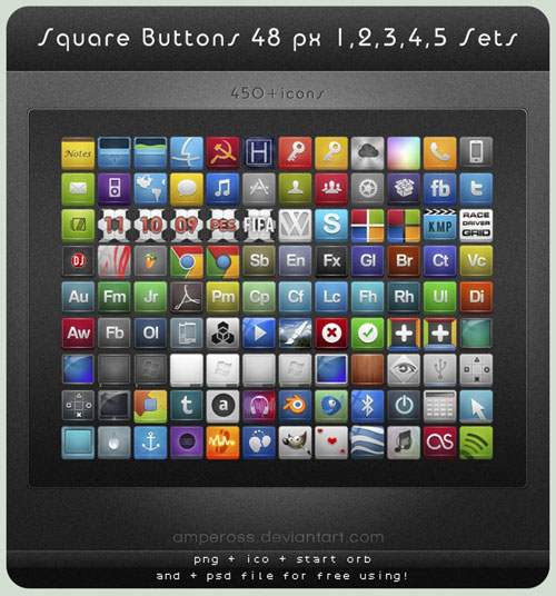 Square Buttons 48 px Sets 1-5