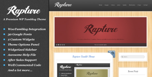 Rapture WordPress and Tumblog Theme