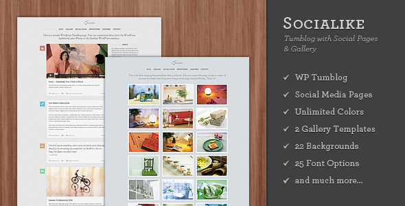 Socialike - Tumblog with Social Pages and Gallery
