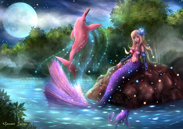 15 wonderful mermaid illustrations web graphic design - Pink dolphin logo wallpaper ...