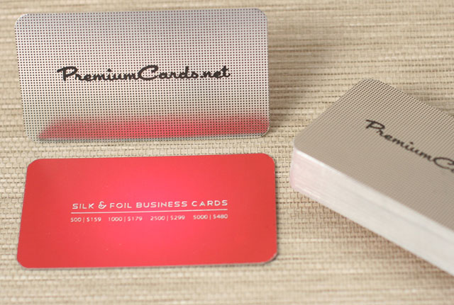 Silk Business Cards with Custom Silver Foil | PremiumCards.net