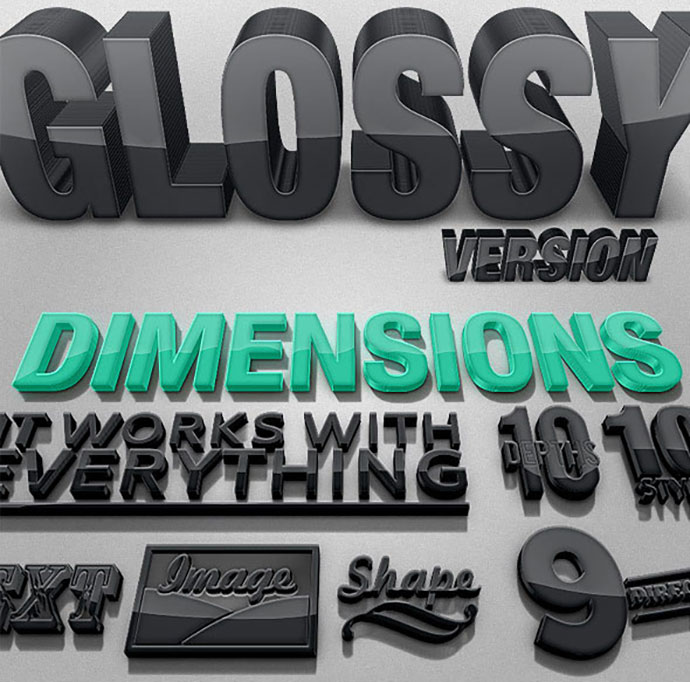 Dimensions Glossy Version - 3D Generator Action