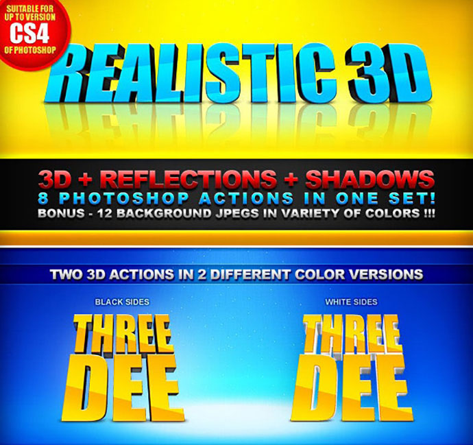 Realistic 3D - 8 Actions - 3D+Shadows+Reflection
