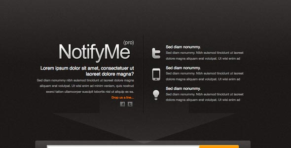 Notifyme Is A Very Simple One Page Website It Comes With Html File Css Some Images And The Fully Sliced Psd Source