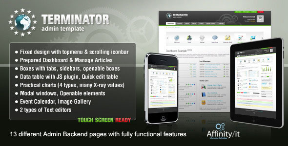 TERMINATOR - 13 different Admin Backend pages