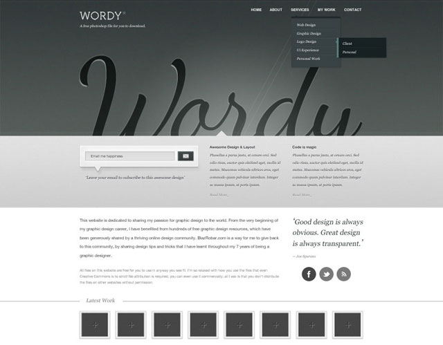 Wordy – A Free website PSD download