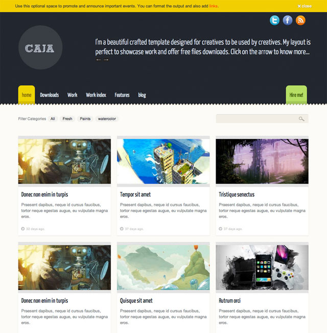 Caja – Creative's portfolio layout (PSD)