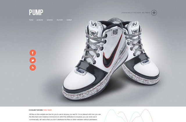 Pump – A free website PSD design