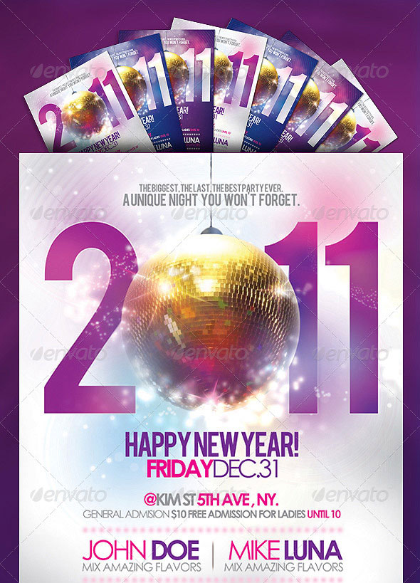 happy new year party flyer