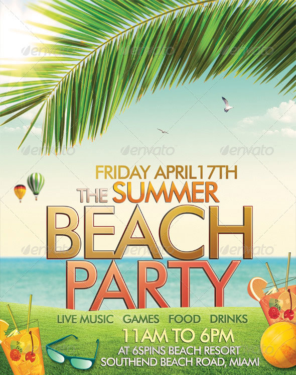 30 vibrant colorful party flyer templates web graphic design beach or summer party flyer maxwellsz