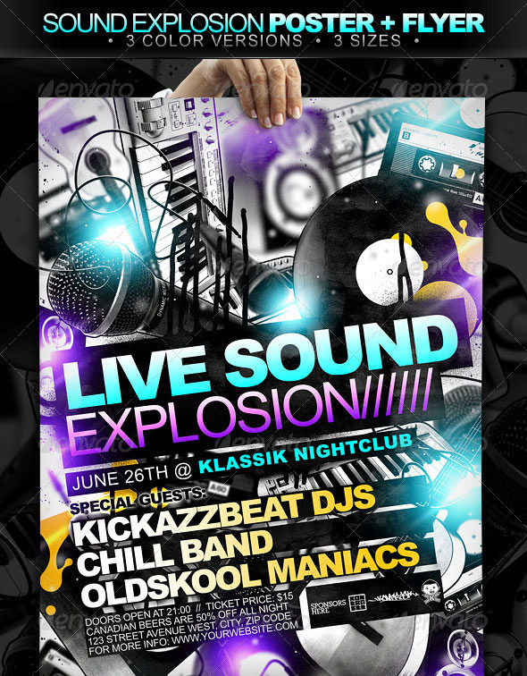 Sound Explosion Poster + Flyer // 3 Color Versions