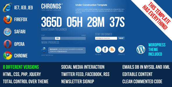 Chronos Under Construction Template + WP Theme