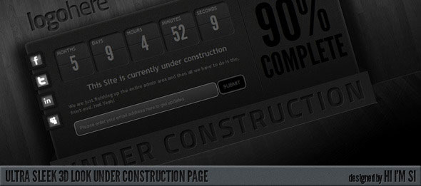 Ultra Sleek 3D Look Under Construction Page