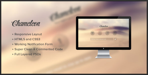Chameleon Responsive Coming Soon Page
