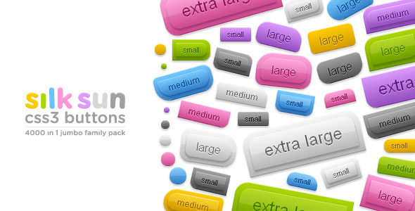 silksun CSS3 buttons - 4000 in 1 jumbo family pack
