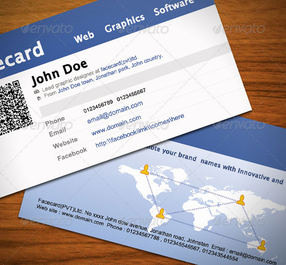 20 creative business card templates that help you stand out from the facebook business card 9 accmission Images