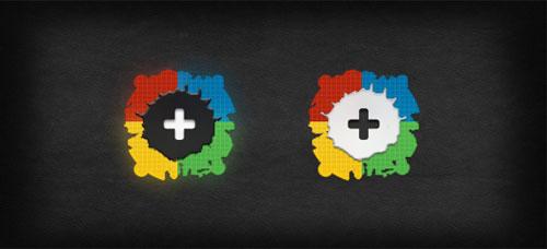 Google+ Button PSD