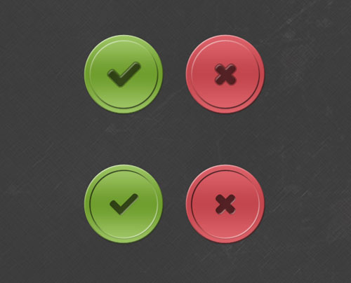 Tick and Cross Buttons