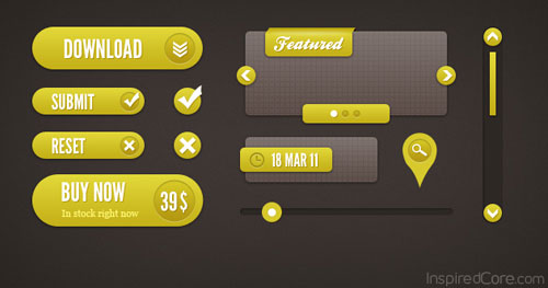 Freebie: Pixel Perfect Yellow User Interface Elements (PSD)