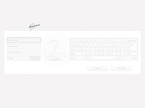 Login and Keyboard Template Psd