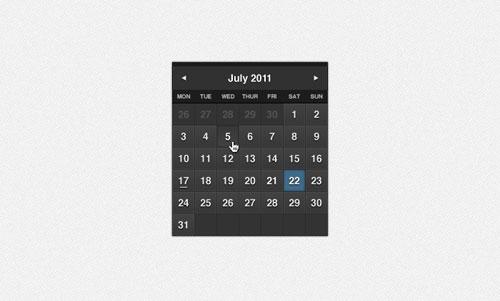 Classy Dark Formal Calendar PSD
