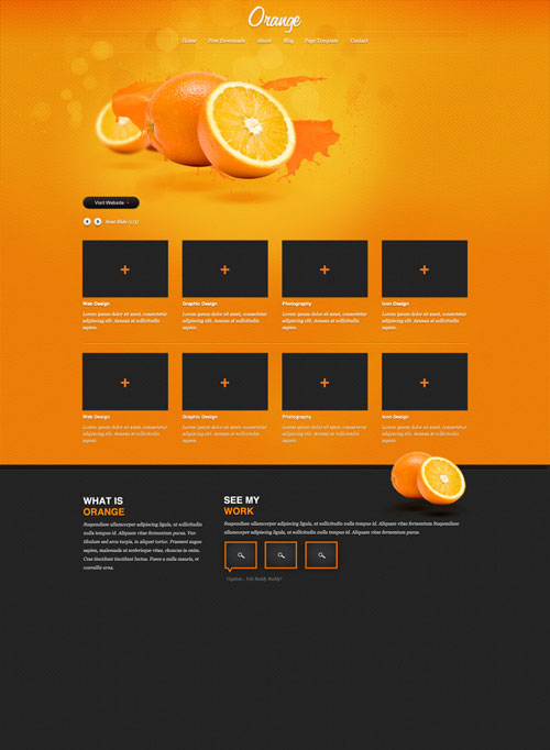 'Orange' A free psd website template