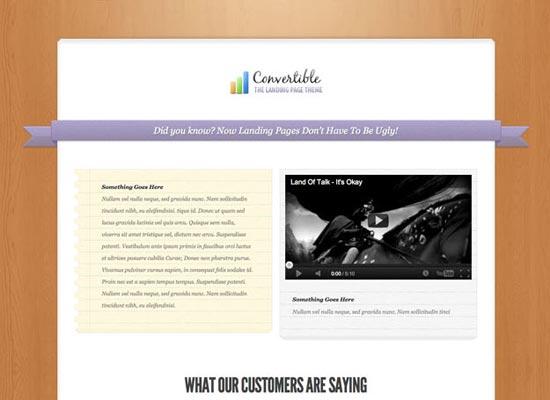 Convertible A Beautiful Landing Page WordPress Theme