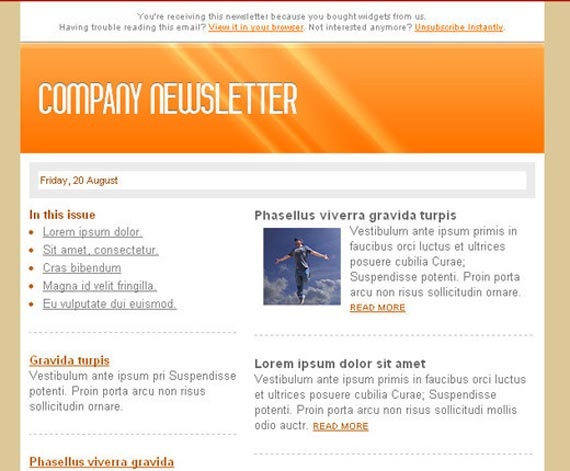 Collection Of Free HTML Email Templates – Sample Company Newsletter