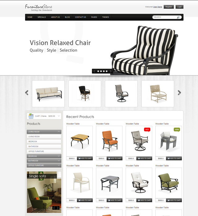 8 Best Furniture Website Templates Web Graphic Design Bashooka