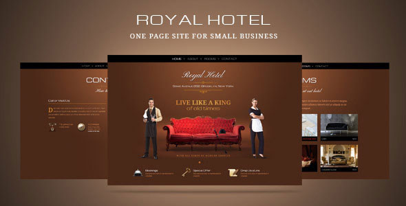 Luxury hotel or small business one page template