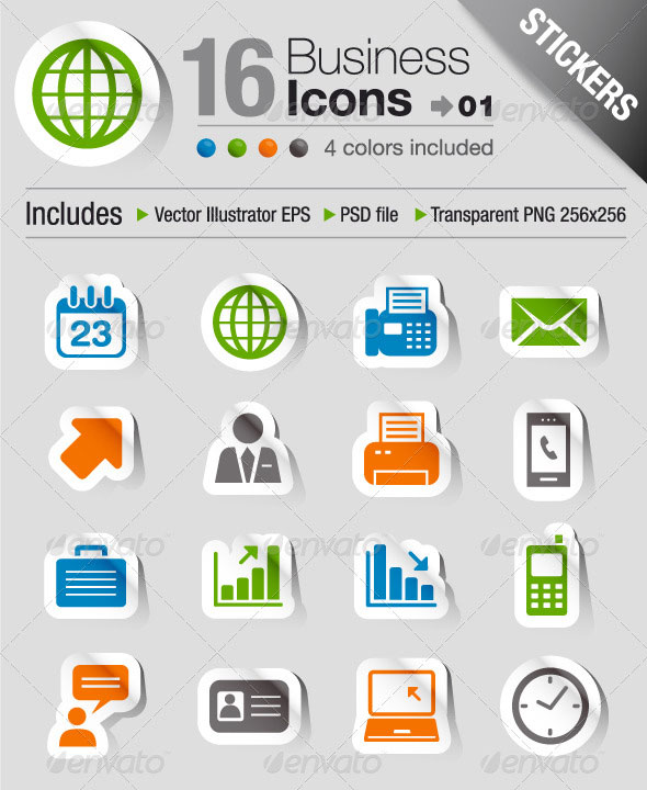 Stickers - Office And Business Icons 01