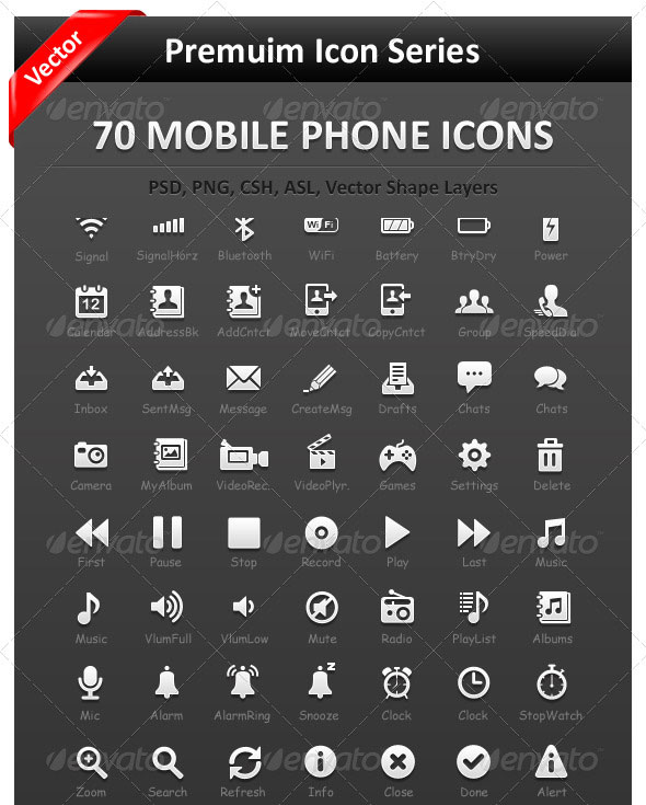 70 Mobile Interface icons
