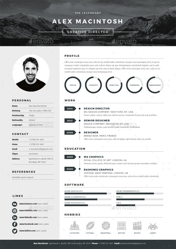 mono resume - Graphic Design Resume Template