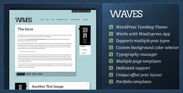Waves - WordPress Tumblog Theme
