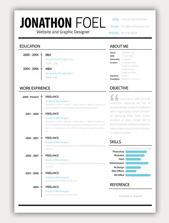 Minimalistic Resume Template  Free Simple Resume Templates