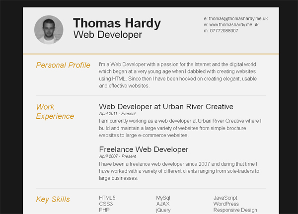11 Free Psd & Html Resume Templates | Web & Graphic Design | Bashooka