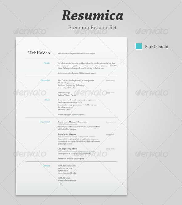 Resumica Resume Set  Resume Templates Indesign