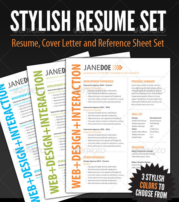 stylish resume template set - Free Contemporary Resume Templates